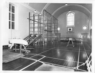 The gym inside the 'Church Tower', Brockhall. Date of image: 1965. | Lancashire County Museums Service