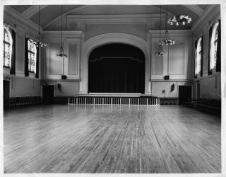 The dance hall and stage at Calderstones probably in the 1960s.  | David Fitzpatrick