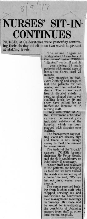 Nurses' Sit-In Continues. Clitheroe Advertiser, September 8th 1977