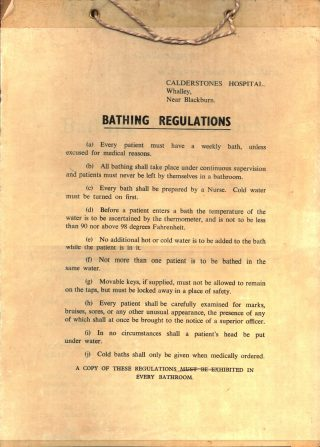 Bathing rules from Calderstones - possibly the 1960s.  | Courtesy of Duncan Mitchell