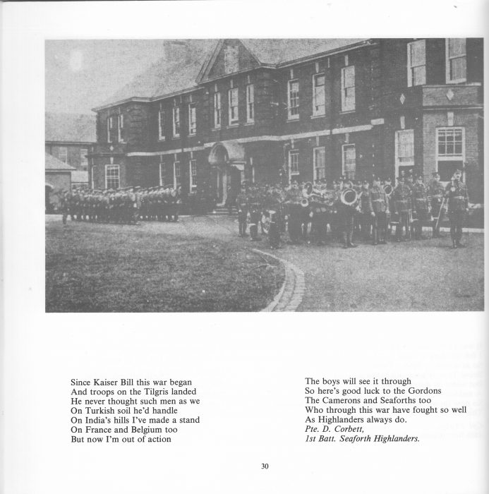 The main building at Calderstones, when it opened as Queen Mary's Military Hospital during World War One, 1914 - 1918. This image is from the  book, 'Words from the Wounded'. This is a collection of writings from injured soldiers who came from the trenches to the hospital at Whalley. The book was published in 1989 by Countryside, and is edited by David Boderke. David Whalley contributed this item. His grandfather was a patient, returning after the war to work at Calderstones, when it opened as a long-stay institution.  | Book courtesy of David Whalley