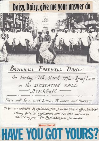 This is the template for the Staff Farewell Dance Poster at Brockhall in March 1992 | Brenda Kay