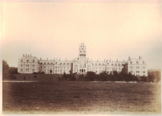 Royal Albert Hospital, Lancaster c. late 1800s. Example of a Victorian single-block asylum. Its main building consisted of offices, staff accomodation, as well as many wards where people lived.  | Courtesy of Lancashire County Council Museums Service