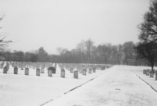 Calderstones Hospital Cemetery with headstones c. 1970s - looking back from the War Graves towards the entrance.  | Dennis Buckley