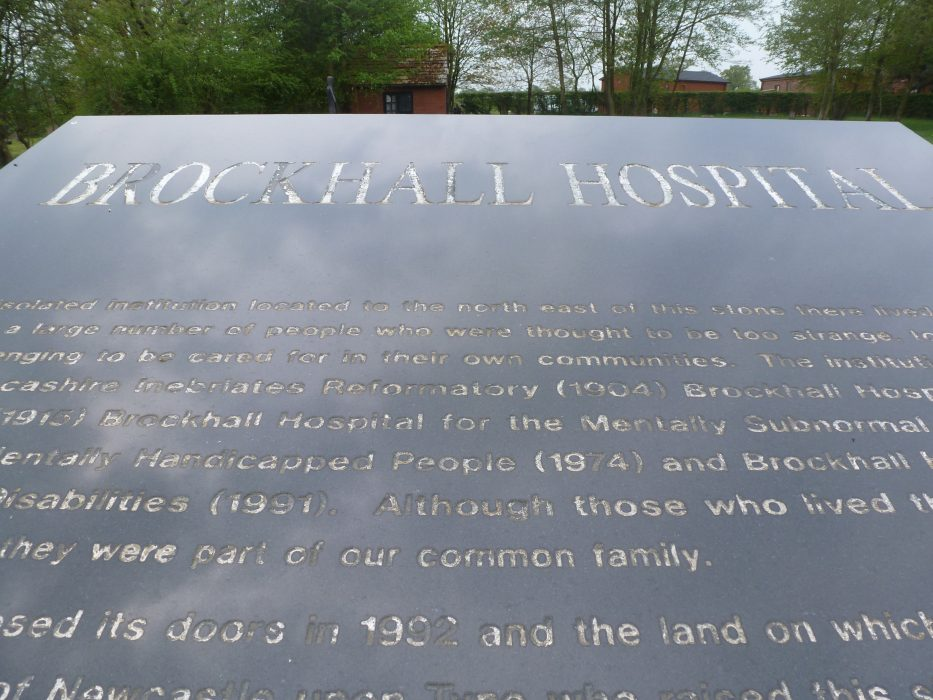 Photograph of the slab with the inscription on top of the Brockhall Hospital memorial.  | Pathways Associates