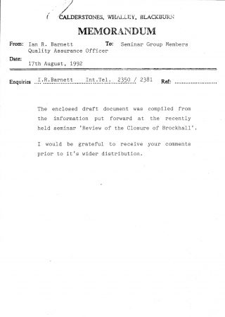 August 17th 1992 memo sent round to members of the seminar: Review of the Closure of Brockhall | Brenda Kay