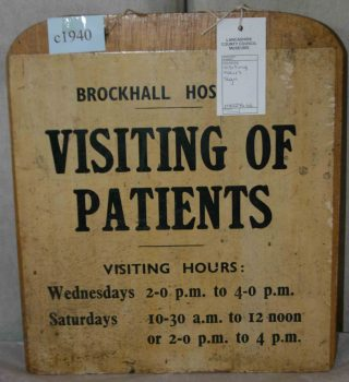 This visiting sign is likely to be from after 1948 when the NHS took over the running of Brockhall - and it became officially known as a 'hospital' rather than an 'institution'.  | Lancashire County Council Museums Service