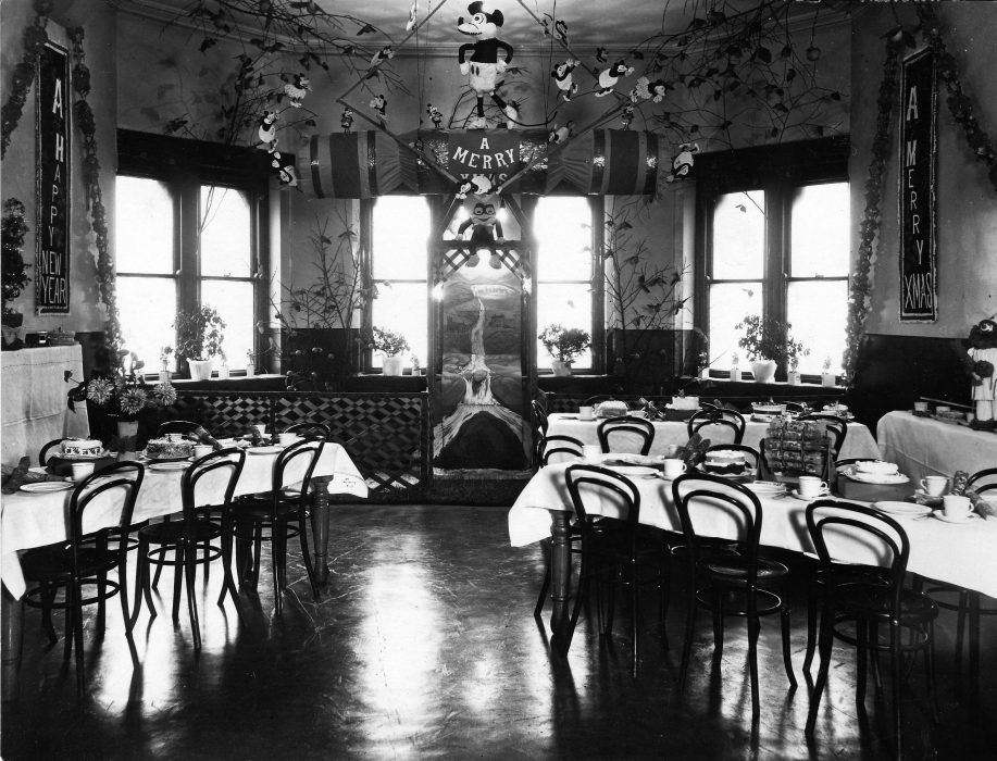 Christmas at the Royal Albert. On the back of the photograph, in fine hand writing, are the words: Christmas 1930 - Room No. 49 The Home of Mickey Mouse | Courtesy of Lancashire County Council Museums Service