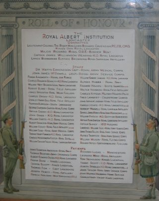 World War One Roll of Honour at the Royal Albert Hospital, Lancaster. This hung in the entrance hall for most of the 20th century.  | Nigel Ingham