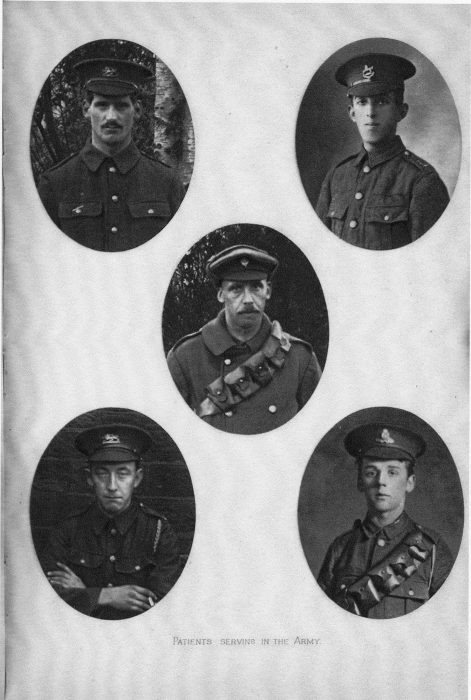 Images of men who had been Royal Albert residents, and had enlisted in the armed forces during World War One. These photographs were in the 1916 Annual Report of the - then named - Royal Albert Institution. Almost certainly, these are photographs of individuals whose names appear on the Roll of Honour.