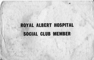 Tony Dennsison's Royal Albert Staff Social Club card (front). | Tony Dennison