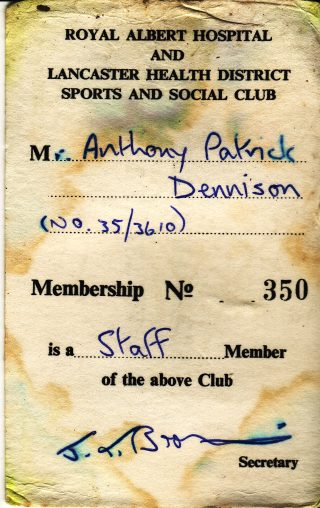 Tony Dennsison's Staff Social Club card (back). | Tony Dennison