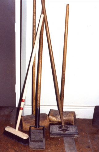 The wooden mallet looking objects were 'bumpers' used for cleaning and polishing floors at the Royal Albert in the first half of the last century. | Nigel Ingham