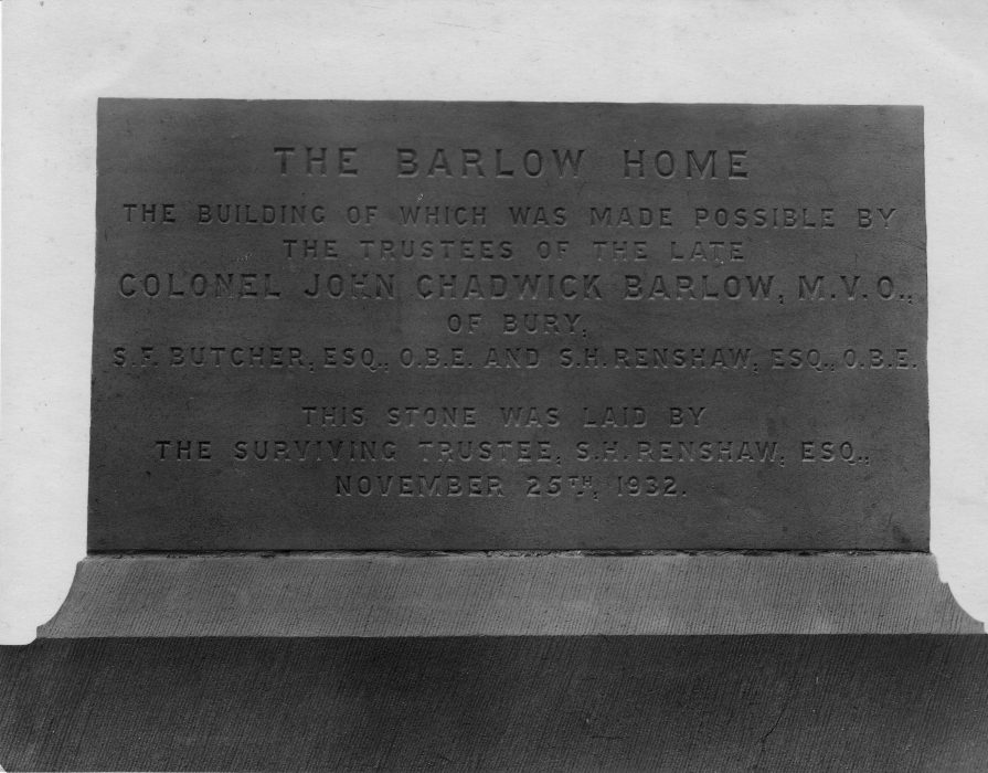 The wording on the Barlow Home Foundation Stone. | Lancashire County Museum Service