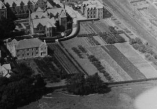 This aerial photograph of the hospital (around 1920s) shows the gardens and orchard on the south side of the institution.  | Lancashire County Museums Service