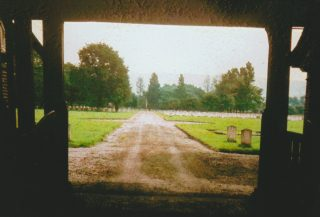 Garden of Rembrance viewed through the chapels at Calderstones Cemetery. Image probably taken in the 1970s?  | David Fitzpatrick